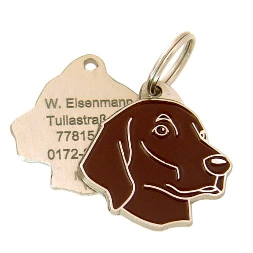 Custom personalized dog name tag FLAT-COATED RETRIEVER BROWN Color: colored/silver  Dim: 33 x 32 mm Engraving area:  22 x 18 mm Metal, chrome plated pet tag.   Personalized laser engraving on the back side included.  Hand made  MADE IN SLOVENIA  In stock.