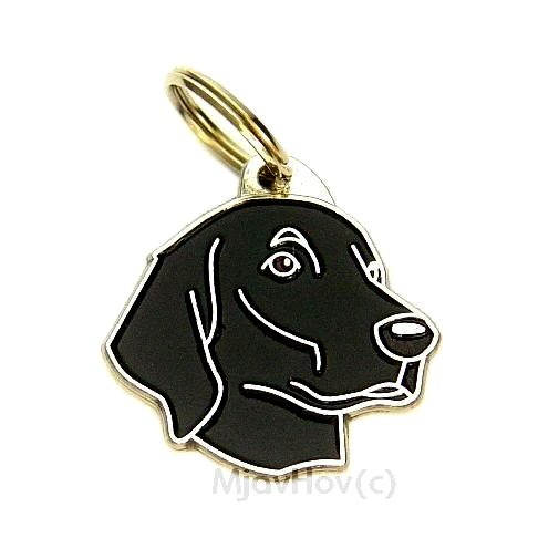 Custom personalized dog name tag FLAT-COATED RETRIEVER Color: colored/silver  Dim: 33 x 32 mm Engraving area:  22 x 18 mm Metal, chrome plated pet tag.   Personalized laser engraving on the back side included.  Hand made  MADE IN SLOVENIA  In stock.