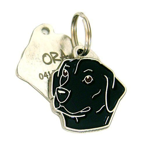 Custom personalized dog name tag LABRADOR RETRIEVER BLACK Color: colored/silver  Dim: 30 x 32 mm Engraving area:  20 x 17 mm Metal, chrome plated pet tag.   Personalized laser engraving on the back side included.  Hand made  MADE IN SLOVENIA  In stock.