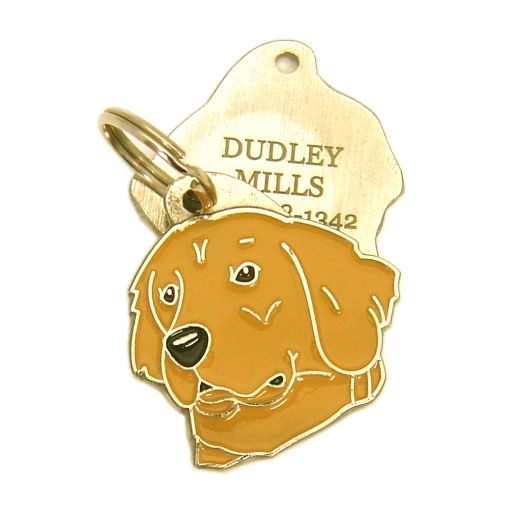 Custom personalized dog name tag GOLDEN RETRIEVER DARK GOLD Color: colored/silver  Dim: 32 x 33 mm Engraving area:  21 x 20 mm Metal, chrome plated pet tag.   Personalized laser engraving on the back side included.  Hand made  MADE IN SLOVENIA  In stock.