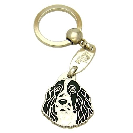 Custom personalized dog name tag SPRINGER SPANIEL BLACK AND WHITE Color: colored/silver  Dim:  28 x 32 mm Engraving area:  20 x 15 mm Metal, chrome plated pet tag.   Personalized laser engraving on the back side included.  Hand made  MADE IN SLOVENIA  In stock.