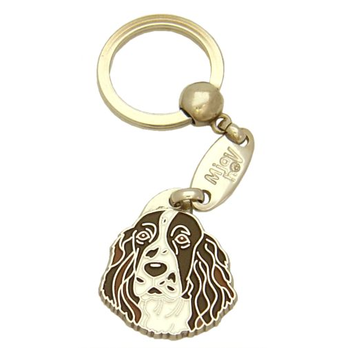 Custom personalized dog name tag SPRINGER SPANIEL Color: colored/silver  Dim:  28 x 32 mm Engraving area:  20 x 15 mm Metal, chrome plated pet tag.   Personalized laser engraving on the back side included.  Hand made  MADE IN SLOVENIA  In stock.