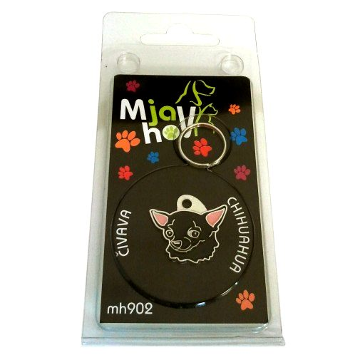 Custom personalized dog name tag CHIHUAHUA BLACK Color: colored/silver  Dim: 25 x 23 mm Engraving area:  14 x 12 mm Metal, chrome plated pet tag.   Personalized laser engraving on the back side included.  Hand made  MADE IN SLOVENIA  In stock.