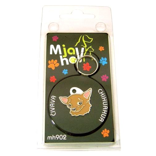 Custom personalized dog name tag CHIHUAHUA BROWN Color: colored/silver  Dim: 25 x 23 mm Engraving area:  14 x 12 mm Metal, chrome plated pet tag.   Personalized laser engraving on the back side included.  Hand made  MADE IN SLOVENIA  In stock.
