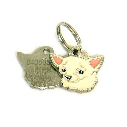 Custom personalized dog name tag CHIHUAHUA CREAM Color: colored/silver  Dim: 25 x 23 mm Engraving area:  14 x 12 mm Metal, chrome plated pet tag.   Personalized laser engraving on the back side included.  Hand made  MADE IN SLOVENIA  In stock.