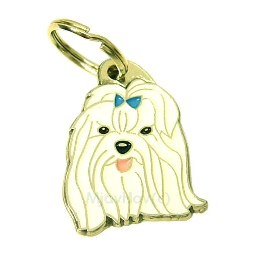 Custom personalized dog name tag MALTESE BLUE Color: colored/silver  Dim: 24 x 33 mm Engraving area:  19 x 15 mm Metal, chrome plated pet tag.   Personalized laser engraving on the back side included.  Hand made  MADE IN SLOVENIA  In stock.