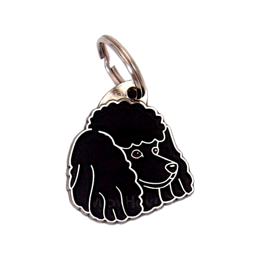 Custom personalized dog name tag POODLE BLACK Color: colored/silver  Dim: 29 x 33 mm Engraving area:  18 x 16 mm Metal, chrome plated pet tag.   Personalized laser engraving on the back side included.  Hand made  MADE IN SLOVENIA  In stock.