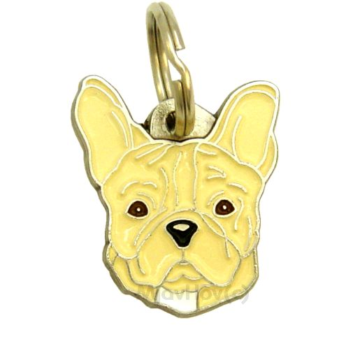Custom personalized dog name tag FRENCH BULLDOG CREAM NO MASK Color: colored/silver  Dim:  27 x 30 mm Engraving area:  16 x 16 mm Metal, chrome plated pet tag.   Personalized laser engraving on the back side included.  Hand made  MADE IN SLOVENIA  In stock.