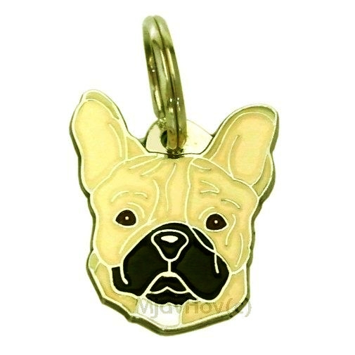 Custom personalized dog name tag FRENCH BULLDOG CREAM Color: colored/silver  Dim: 27 x 30 mm Engraving area:  16 x 16 mm Metal, chrome plated pet tag.   Personalized laser engraving on the back side included.  Hand made  MADE IN SLOVENIA  In stock.