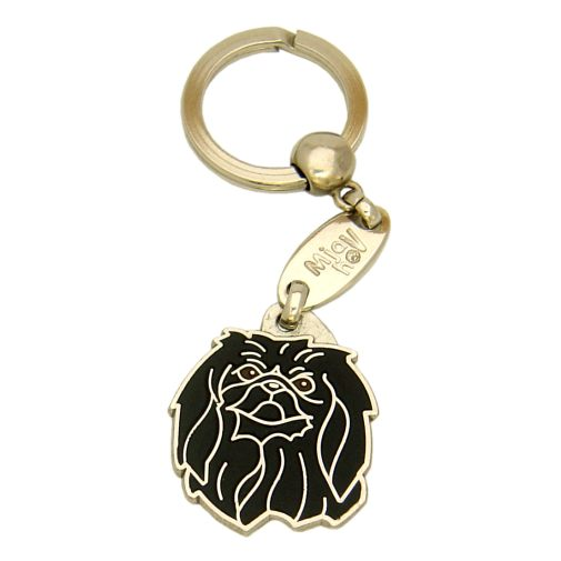 Custom personalized dog name tag PEKINGESE BLACK Color: colored/silver  Dim:  29 x 34 mm Engraving area:  20 x 18 mm Metal, chrome plated pet tag.   Personalized laser engraving on the back side included.  Hand made  MADE IN SLOVENIA  In stock.