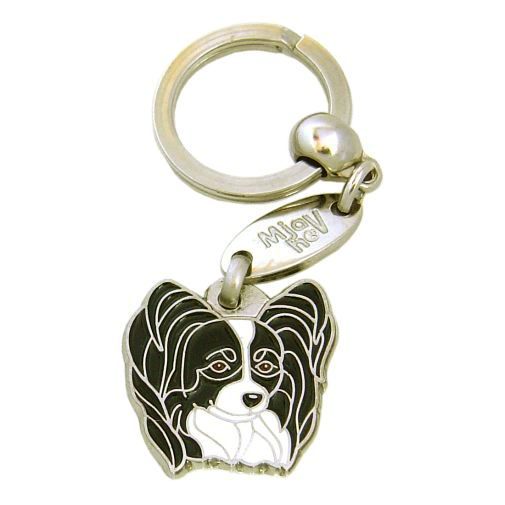 Custom personalized dog name tag PAPILLON BLACK & WHITE Color: colored/silver  Dim: 28 x 27 mm Engraving area:  21 x 15 mm Metal, chrome plated pet tag.   Personalized laser engraving on the back side included.  Hand made  MADE IN SLOVENIA  In stock.