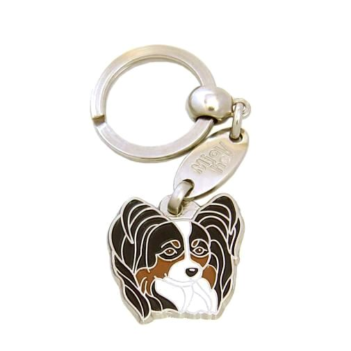 Custom personalized dog name tag PAPILLON TRICOLOR Color: colored/silver  Dim: 28 x 27 mm Engraving area:  21 x 15 mm Metal, chrome plated pet tag.   Personalized laser engraving on the back side included.  Hand made  MADE IN SLOVENIA  In stock.
