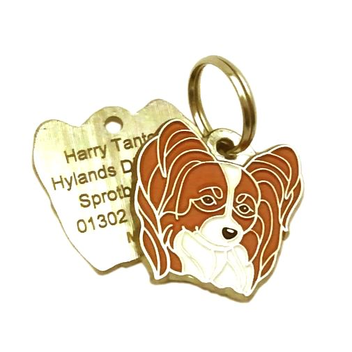 Custom personalized dog name tag PAPILLON WHITE & RED Color: colored/silver  Dim: 28 x 27 mm Engraving area:  21 x 15 mm Metal, chrome plated pet tag.   Personalized laser engraving on the back side included.  Hand made  MADE IN SLOVENIA  In stock.