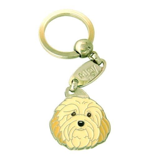 Custom personalized dog name tag HAVANESE CREAM Color: colored/silver  Dim: 28 x 31 mm Engraving area:  22 x 15 mm Metal, chrome plated pet tag.   Personalized laser engraving on the back side included.  Hand made  MADE IN SLOVENIA  In stock.