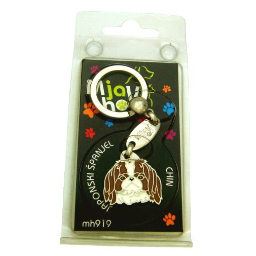 Custom personalized dog name tag JAPANESE CHIN WHITE BROWN