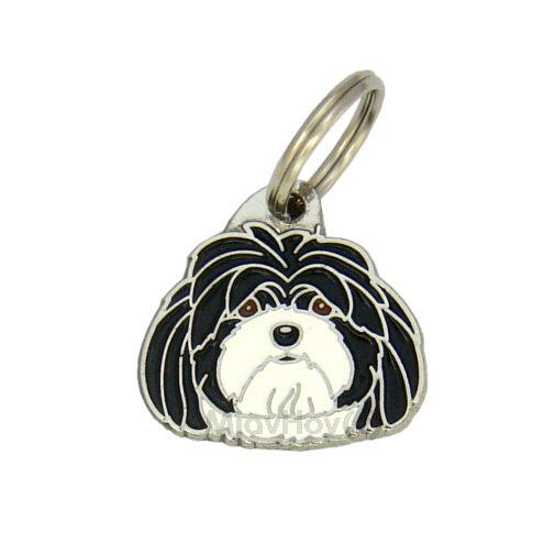 Custom personalized dog name tag LHASA APSO BLACK AND WHITE
