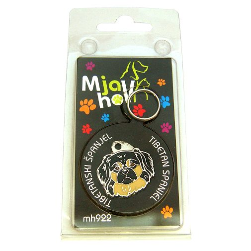 Custom personalized dog name tag TIBETAN SPANIEL BLACK AND CREAM