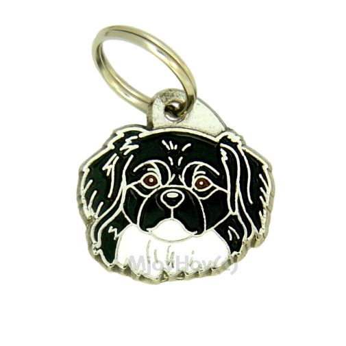 Custom personalized dog name tag TIBETAN SPANIEL BLACK AND WHITE