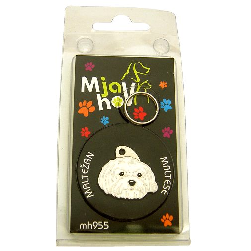Custom personalized dog name tag MALTESE HAIRCUT Color: colored/silver  Dim:  27 x 26 mm Engraving area:  20 x 12 mm Metal, chrome plated pet tag.   Personalized laser engraving on the back side included.  Hand made  MADE IN SLOVENIA  In stock.