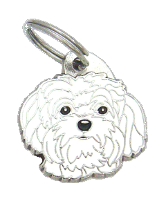 Venäjänbolonka valkoinen - pet ID tag, dog ID tags, pet tags, personalized pet tags MjavHov - engraved pet tags online