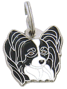 Papillon mustavalkoinen - pet ID tag, dog ID tags, pet tags, personalized pet tags MjavHov - engraved pet tags online
