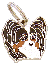 Papillon kolmivärinen - pet ID tag, dog ID tags, pet tags, personalized pet tags MjavHov - engraved pet tags online