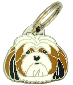 Lhasa apso kolmivärinen - pet ID tag, dog ID tags, pet tags, personalized pet tags MjavHov - engraved pet tags online