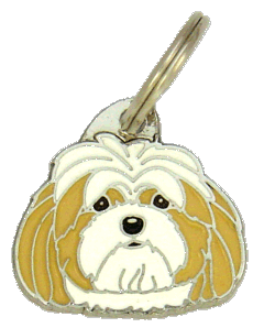 Lhasa apso kerma-valkoinen - pet ID tag, dog ID tags, pet tags, personalized pet tags MjavHov - engraved pet tags online