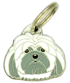 Lhasa apso valkoinen-harmaa - pet ID tag, dog ID tags, pet tags, personalized pet tags MjavHov - engraved pet tags online
