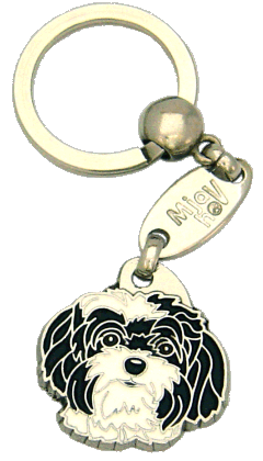 Venäjänbolonka mustavalkoinen - pet ID tag, dog ID tags, pet tags, personalized pet tags MjavHov - engraved pet tags online