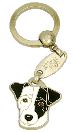 Russellterrieri valkoinen, musta silmä - pet ID tag, dog ID tags, pet tags, personalized pet tags MjavHov - engraved pet tags online