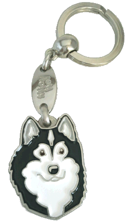 Alaskanmalamuutti mustavalkoinen - pet ID tag, dog ID tags, pet tags, personalized pet tags MjavHov - engraved pet tags online