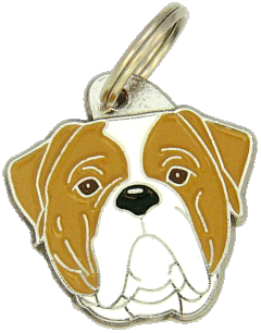 AMERICAN BULLDOG WHITE AND BROWN <br> (pet tag, engraving included)