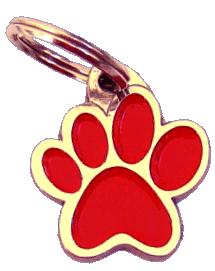 PAW MJAVHOV RED - pet ID tag, dog ID tags, pet tags, personalized pet tags MjavHov - engraved pet tags online