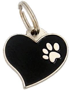 HEART BLACK - pet ID tag, dog ID tags, pet tags, personalized pet tags MjavHov - engraved pet tags online
