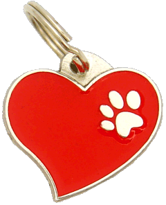 HEART RED - pet ID tag, dog ID tags, pet tags, personalized pet tags MjavHov - engraved pet tags online
