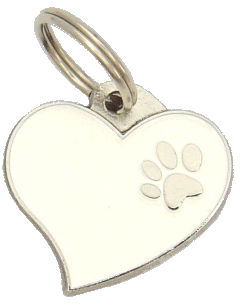 HEART WHITE - pet ID tag, dog ID tags, pet tags, personalized pet tags MjavHov - engraved pet tags online