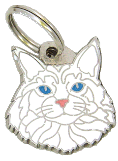 Maine Coon white - pet ID tag, dog ID tags, pet tags, personalized pet tags MjavHov - engraved pet tags online