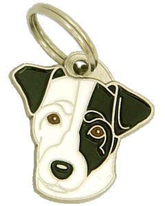 RUSSELL TERRIER WHITE, BLACK EYED - pet ID tag, dog ID tags, pet tags, personalized pet tags MjavHov - engraved pet tags online