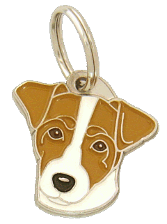RUSSELL TERRIER WHITE AND BROWN <br> (pet tag, engraving included)