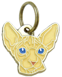 SPHYNX CAT CREAM, BLUE EYES - pet ID tag, dog ID tags, pet tags, personalized pet tags MjavHov - engraved pet tags online
