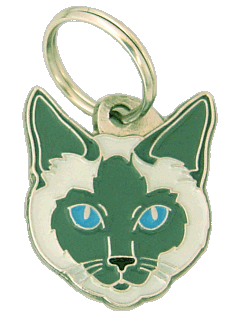 Siamese cat traditional blue - pet ID tag, dog ID tags, pet tags, personalized pet tags MjavHov - engraved pet tags online