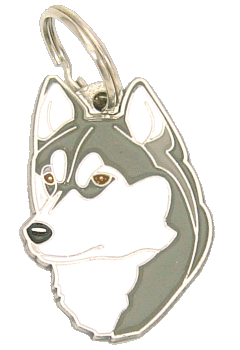 SIBERIAN HUSKY, BROWN EYES - pet ID tag, dog ID tags, pet tags, personalized pet tags MjavHov - engraved pet tags online