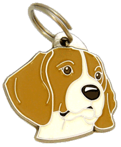 BEAGLE WHITE BROWN - pet ID tag, dog ID tags, pet tags, personalized pet tags MjavHov - engraved pet tags online