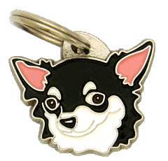 CHIHUAHUA LONG HAIRED BLACK AND WHITE <br> (pet tag, engraving included)