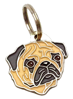 PUG FAWN - pet ID tag, dog ID tags, pet tags, personalized pet tags MjavHov - engraved pet tags online