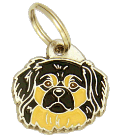 TIBETAN SPANIEL BLACK AND CREAM <br> (pet tag, engraving included)