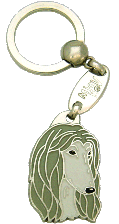 AFGHAN HOUND GREY <br> (keyring, engraving included)