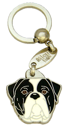 AMERICAN BULLDOG BLACK AND WHITE <br> (keyring, engraving included)