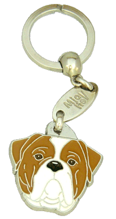 AMERICAN BULLDOG WHITE AND BROWN <br> (keyring, engraving included)